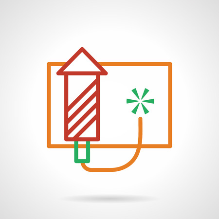 pyrotechnics: Fireworks rocket. Red firecracker with yellow fuse. Celebration pyrotechnics. Simple color line style vector icon. Element for web design, business, mobile app.