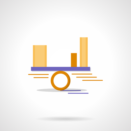 analytic: Financial or project risks assessment. Balance with chart bars. Business analytic. Flat color style vector icon. Element for web design, business, mobile app.