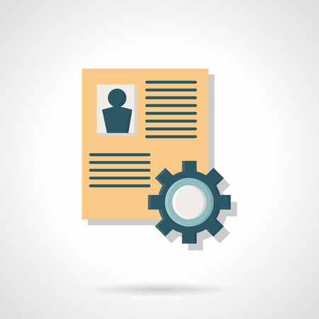 summary: Document with person summary or resume and cogwheel. Human resource management, work team organization. Flat color style vector icon. Element for web design, business, mobile app.