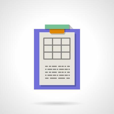 Blank Tisch für die Wissenschaft Forschungsergebnisse. Lila Zwischenablage mit Papier. Melden, Papierkram. Flache, Farbe, Stil Vektor-Symbol. Element für Web-Design, Business, mobile App.
