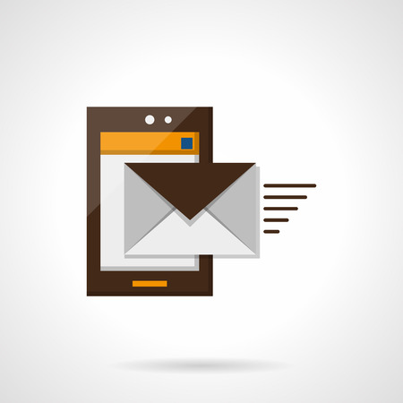 mobile app: Brown smartphone with envelope moves out, sending a message app button. Mobile mail. Flat color style vector icon. Element for web design, business, mobile app. Illustration