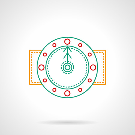 midnight time: Winter time. Winter clocks with snowflake. Midnight time. Thin color line style vector icon. Element for web design, business, mobile app.