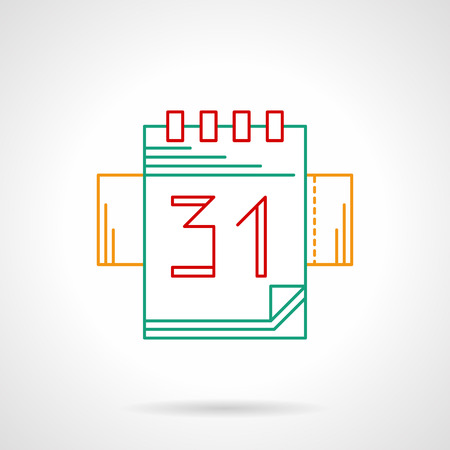 event management: Event organizer. Ring calendar with day 31. Meetings, time management, celebration. Thin color line style vector icon. Element for web design, business, mobile app.