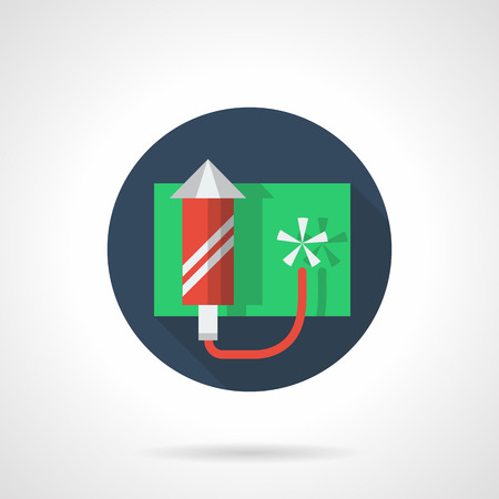 pyrotechnic: Red firework rocket with white stripes. Accessories for celebrations, fun party. Festive pyrotechnic. Blue round flat color vector icon. Design element for business, website and mobile app.