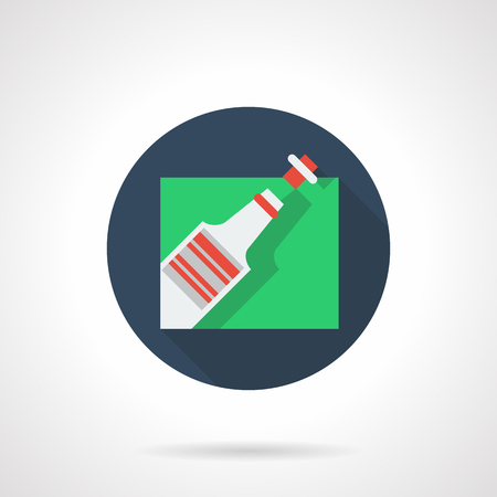 opening party: Celebrations symbol. Party and events menu. Champagne bottle being opened. Blue round flat color vector icon. Design element for business, website and mobile app.