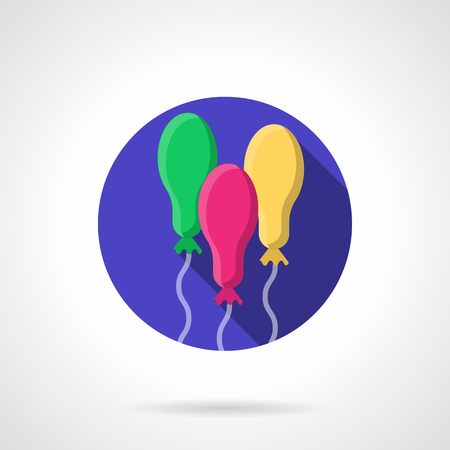 oval shape: Birthday air balloons with rope, oval shape. Party decoration bright balloons. Round purple flat color vector icon with long shadow. Design element for business, website and mobile app.