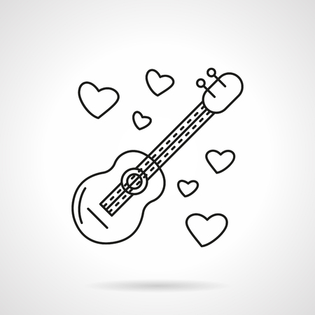 single songs: Guitar with hearts around. Romantic melody gift. Serenades. Songs about love. Flat thin line style vector icon. Single design element for web, business, mobile app.