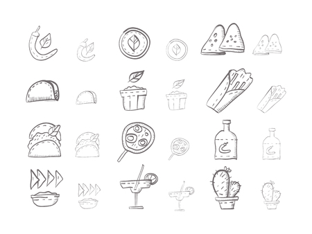 sauces: Hand drawn sketch vector icons for mexican menu. Traditional mexican cuisine with hot food, pepper, taco, tortilla, hot spices and sauces, tequilla. Doodle design elements. Illustration