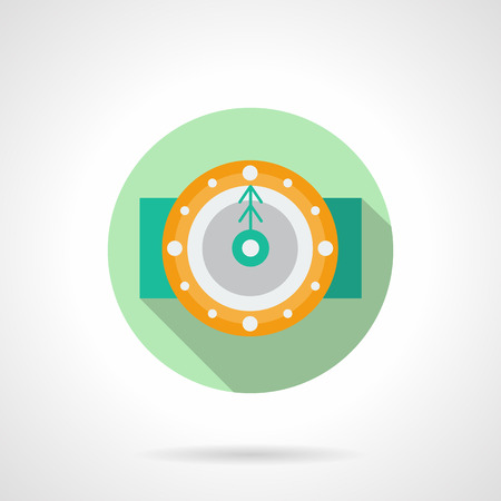 midnight time: Yellow round classic wall clock with green fir arrow. Midnight. Winter holidays time. Green round flat vector icon with long shadow. Element for web design, business, mobile app.