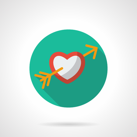 february 1: Red and white heart pierced by yellow Cupids arrow. Valentines Day concept. Love symbol. Green round flat vector icon with long shadow. Element for web design, business, mobile app. Illustration