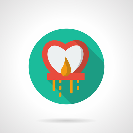 sky lantern: Abstract red heart-shaped chinese paper sky lantern with flame. Traditional celebration. Velantines Day greeting. Green round flat vector icon, long shadow. Element for web design, business, app.