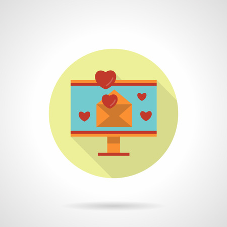 design media love: Computer monitor with open yellow envelope with red hearts. Love email. Social media. Round flat vector icon with long shadow. Element for web design, business, mobile app.