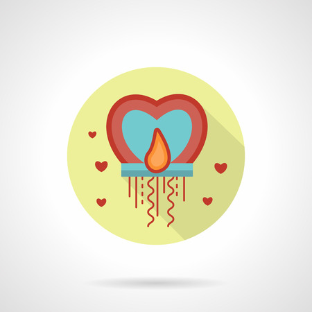 sky lantern: Abstract sky lantern with flame heart shape. Romantic greetings. Valentines day button. Yellow round flat vector icon with long shadow. Element for web design, business, mobile app.