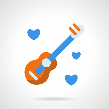 serenade: Romantic melody gift with acoustic guitar, hearts. Sign for postcard, decoration, event, celebration. Valentines day concept. Flat color vector icon. Element for web design, business, mobile app.