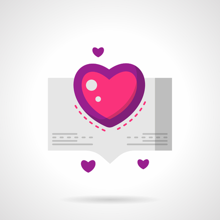 confession: Bubble speech or abstract paper cart with pink pretty heart. Love confession symbol. Valentines Day series. Bright pink and purple flat vector icon. Single design element for web site, app. Illustration