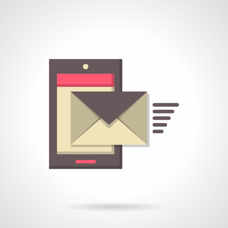 message sending: Close envelope with message sending from smartphone. Communications, mobile technology. Mobile mail. Vector icon flat color style. Single design element for web, app. Illustration