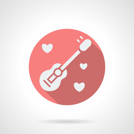 confession: White silhouette guitar with hearts around. Serenades, love melody, love confession . Round pink vector icon with long shadow. Valentines Day series. Design element for web site, mobile app.