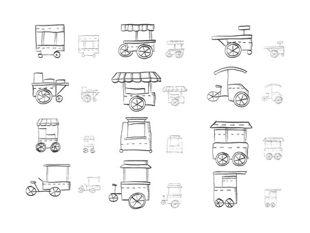Hand drawn sketch icons for street trade. Street fast food cart, trolleys, cart stall. Stores for trade coffee, ice cream, hot dog, summer drink and others. Doodle design elements.