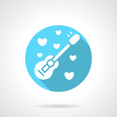 serenade: White silhouette acoustic guitar and hearts. Romantic serenades, melody wedding proposal, musical greeting. Blue icon with long shadow. Valentines Day series. Design element for website, app. Illustration
