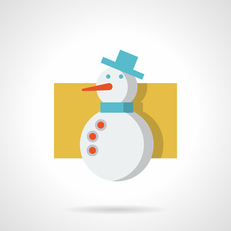 carrot nose: Winter holidays. Cute snowman with blue hat and scarf, red button and carrot nose. Flat color style icon. Element for web design, business, mobile app. Illustration