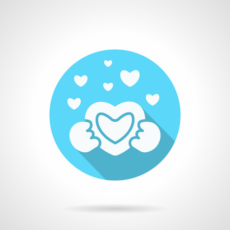 confession: White silhouette heart in hands. Give heart to you. Love confession symbol. Blue icon with long shadow. Valentines Day series. Design element for website, mobile app. Illustration