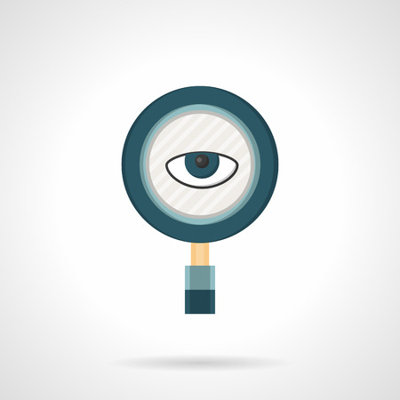 spy glass: Magnifying glass with eye. Surveillance tool. Spy agency or services. Search symbol. Vector icon flat color style. Single design element for web, app.