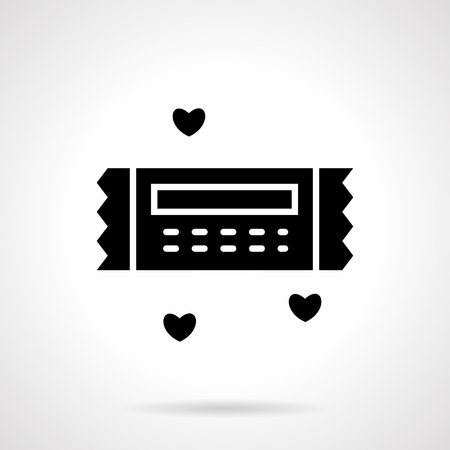 february 14th: Gift coupon for a discount, romantic present for birthday, anniversary, February 14th. Vector icon flat black silhouette style. Valentines Day series. Single design element for web, app.