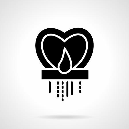 sky lantern: Romantic events organisation. Paper sky lantern heart shape. Love wishes symbol. Vector icon flat black silhouette style. Valentines Day series. Single design element for web, app. Illustration