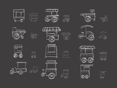 Hand drawn white sketch vector icons for trolley for food on black background. Street trade cart, stall. Sale of coffee, ice cream, hot dog. Doodle design elements.