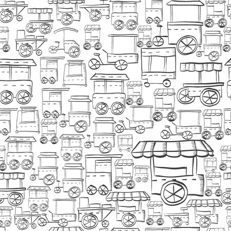 Seamless vector pattern hand drawn style for street trade. Sales of fast food. Trolley and local storefronts. Sketch vector background. Doodle design elements. Illustration