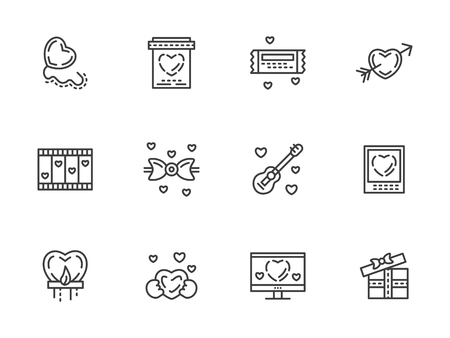 simple store: Valentines day theme. Romantic gift, messages, propose. Love store sign. Set of simple black line vector icons. Elements for web design and mobile.