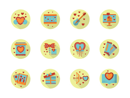 mobile accessories: Romantic or Valentines day party. Event organization, accessories for party. Wedding invitations and greeting. Set of round yellow flat vector icons. Elements for web design and mobile. Illustration