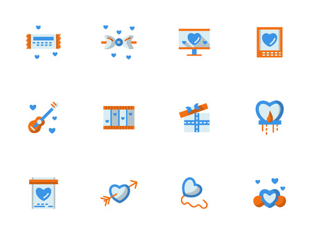 dating icons: Buttons for love greetings. Romantic gifts and wishes for dating, anniversary, Valentines day or birthday. Set of flat color vector icons. Elements for web design and mobile.