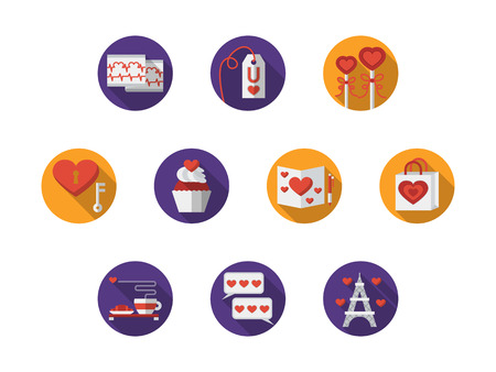 confession: Valentines day buttons. Romantic trip, original love confession or proposal, cardiogram and heart with key. Set of round bright vector icons. Elements for web design and mobile. Illustration