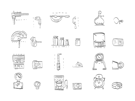 metrology: Hand drawn sketch vector icons for metrology and engeneering equipment. Tools for measuring various quantities. Calipers, electric tester, measuring mass, time and others. Doodle design elements.