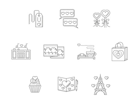 dating icons: Love, Valentines day, dating, romance. Romantic events. Celebration and greeting ideas. Set of flat thin line vector icons. Elements for web design and mobile.