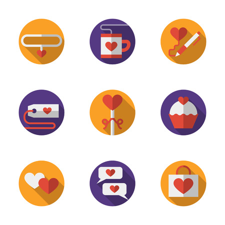 dating icons: Purple and yellow buttons for dating and love relationships. Valentines Day greeting. Set of round colorful flat vector icons. Elements for web design and mobile. Illustration