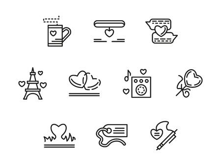 sweethearts: Love symbols. Romantic relationship, passion and courtship. Valentines Day celebration. Anniversary of dating. Set of black simple line vector icons. Elements for web design and mobile.