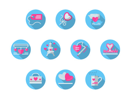 courtship: Pink elements on blue buttons for romantic events, love courtship and relationship, marriage. Valentines Day series. Set of round colorful flat vector icons. Elements for web design and mobile.