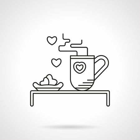 beloved: Hot tea and heart shape cakes. Romantic breakfast for beloved. Valentines Day celebration. Vector icon flat thin line style. Element for web design, business, mobile app.