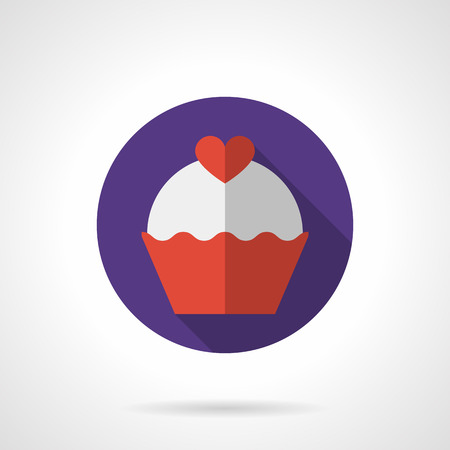 topped: Red cupcake or muffin topped with red heart. Valentine cupcake. Romantic desserts. Vector icon purple round flat style with long shadows. Element for web design, business, mobile app.