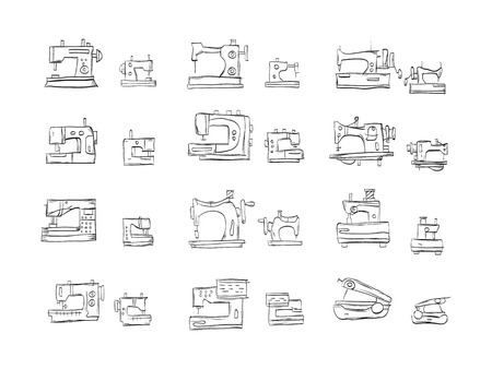 sewing machines: Hand drawn sketch vector icons for sewing machines. Different type sewing equipment, overlock, electric, mechanical, retro and hand sewing machines. Textile production theme. Doodle design elements.