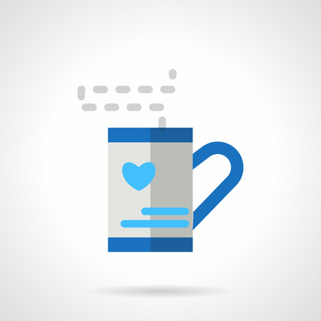 beloved: Love tea symbol. Tea cup gift for friend or beloved. Warm wish. Valentines Day series. Vector icon flat style blue color. Element for web design, business, mobile app. Illustration