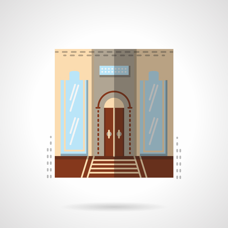 Door with two symmetry tall glass curved windows. Hotel entrance facade. Showcases. Vector icon flat color style. Web design element for site, mobile and business.