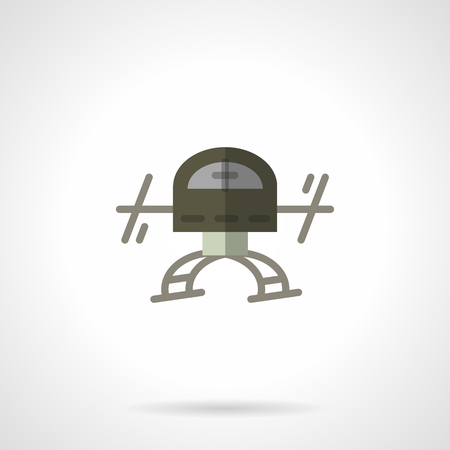 unmanned: Unmanned drone front view sign. UAV, innovation delivery transport, surveillance. Military robots series.  Vector icon flat color style. Web design element for site, mobile and business.