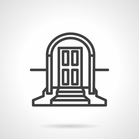 housing style: Rental of property symbol. Facade doors with arched doorway and stairs. Housing concept. Vector icon simple black line style. Single design element for website, business. Illustration