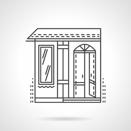Candy shop facade. Wall with open arch door and single window. Storefronts and showcases series. Vector icon flat thin line style. Element for web design, business, mobile app. Illustration
