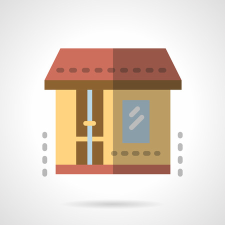 storefront: Drugstore facade. Simple yellow wall with brown door and window. Storefront and showcases. Shop, market or other commercial building. Vector icon flat color. Web element for site, mobile and business. Illustration
