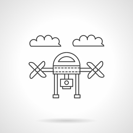 unmanned: Linear quadcopter with camera. Action camera, surveillance. Unmanned aerial vehicle. Vector icon flat thin line style. Element for web design, business, mobile app. Illustration