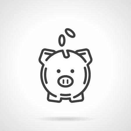 Una hucha con monedas de una vista frontal. Símbolo conceptual de ahorrar dinero. Bancario, depósito, signo de la financiera. Icono del vector estilo simple línea de negro. elemento de diseño único para el sitio web, negocios.
